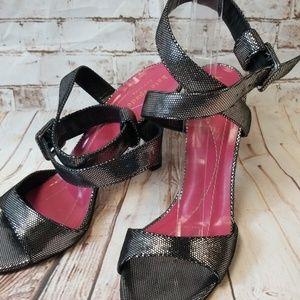 Kate Spade Blk & Silver Heels Strap Ankle Sz 81/2